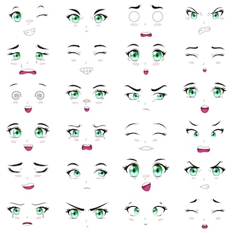 Expressões faciais kawaii de personagens femininos de anime. conjunto de ilustração vetorial de boca, olhos e sobrancelhas de mulher mangá. emoções de anime girls dos desenhos animados. desenhos animados, emoção, mangá, olhos cômicos