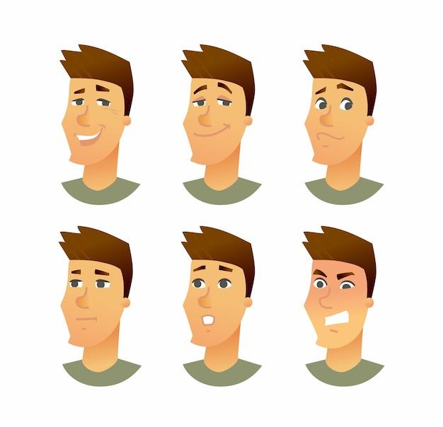 Expressões faciais masculinas ilustração de personagens de desenhos animados de vetor moderno