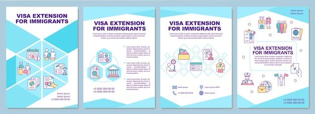 Extensão de visto para modelo de folheto de imigrantes. folheto, folheto, impressão de folheto, design da capa com ícones lineares. layouts de vetor para apresentação, relatórios anuais, páginas de anúncios