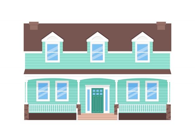 Exterior da casa, fachada da casa, edifício de vista frontal com porta, telhado e janelas