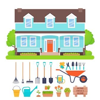 Exterior da casa, ilustração do conjunto de ferramentas do jardim.