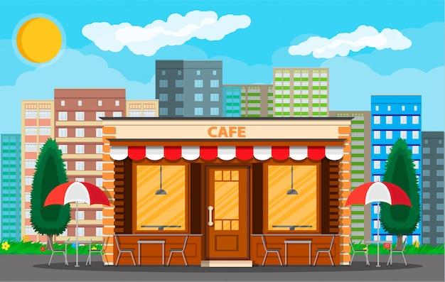 Exterior da loja de café. cityscape