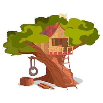 Exterior de árvore de construção de casa de madeira