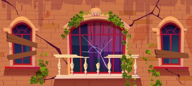 Exterior de casa vintage com grade da varanda em mármore quebrado com parede rachada ilustração dos desenhos animados