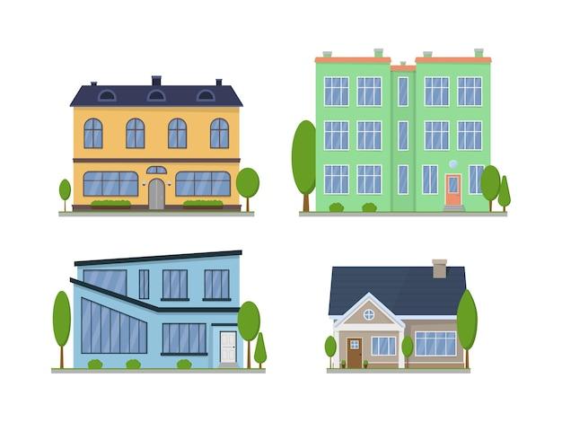 Exterior de casas americanas suburbanas isoladas em branco