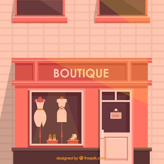 Exterior de uma boutique com cores quentes