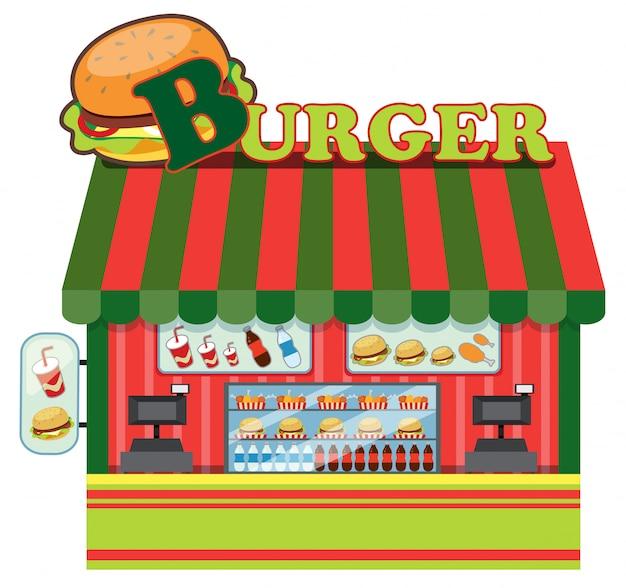 Exterior de uma loja de hambúrguer
