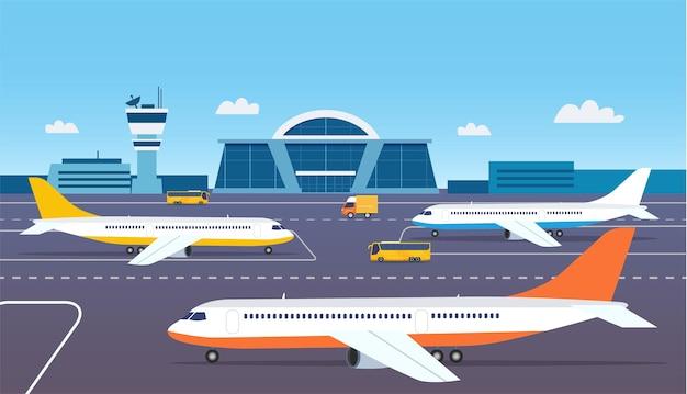 Exterior do edifício do aeroporto com ônibus e aviões. ilustração vetorial.