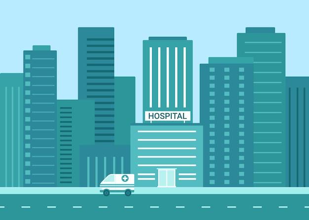 Exterior do edifício do hospital em ilustração plana da cidade