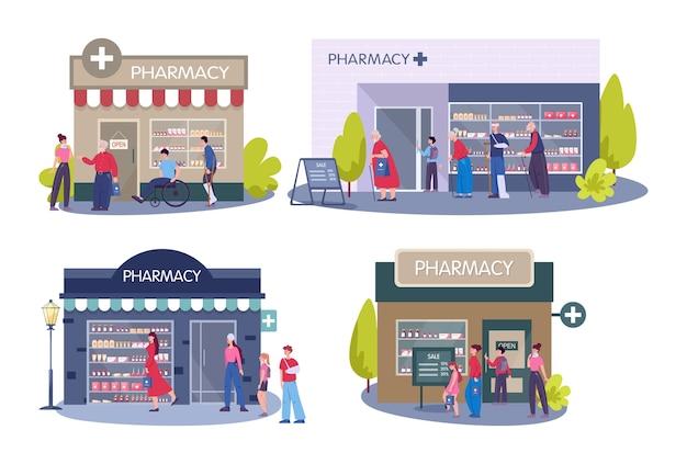 Exterior do edifício moderno da farmácia. as pessoas pedem e compram medicamentos e drogas. conceito de cuidados de saúde e tratamento médico.