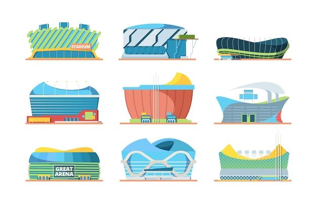 Exterior do estádio. entrada da arena do edifício do esporte para fotos planas do vetor do futebol do estádio público. ilustração da construção da arena do estádio de coleta para eventos esportivos