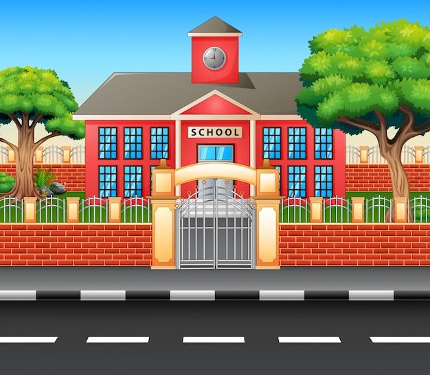 Exterior do prédio da escola moderna com rodovia