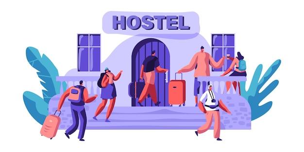 Exterior hostel para turismo. chegada do personagem para visit city. lugar barato para morar ou uma noite. casa alternativa por algum dia. espaço para relaxamento. ilustração em vetor plana dos desenhos animados