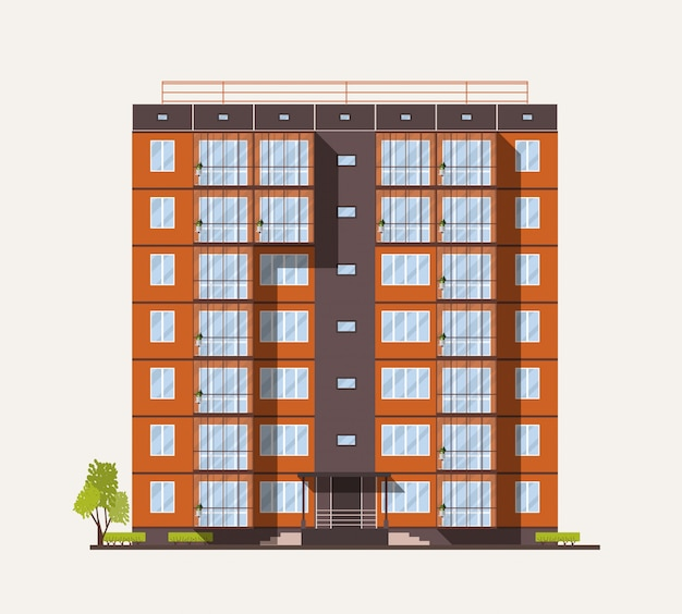 Exterior ou fachada de um prédio de apartamentos de cidade alta construído com painéis pré-fabricados de concreto ou blocos em estilo arquitetônico moderno, isolado no fundo branco. ilustração plana colorida.