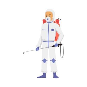 Exterminador de insetos, tornando a desinfecção plana ilustração vetorial isolada
