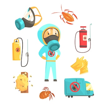 Exterminadores de insetos em produtos químicos de proteção com conjunto de equipamentos e produtos.