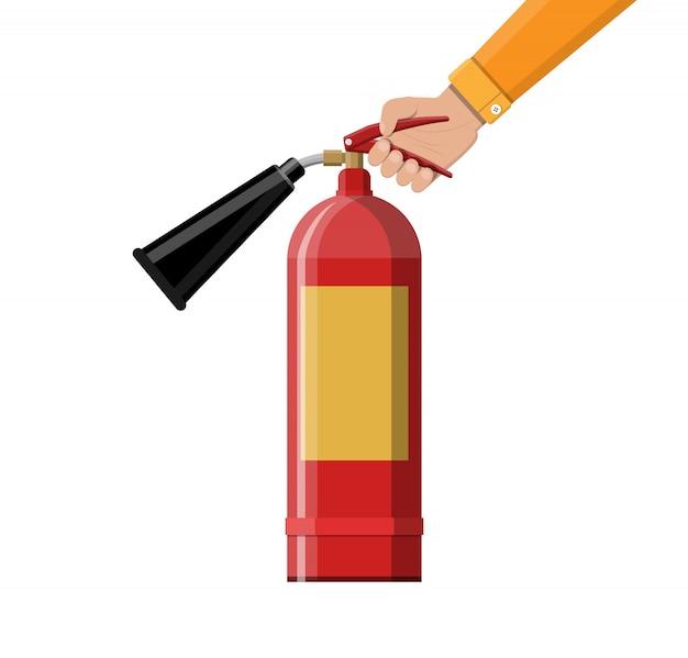 Extintor de incêndio na mão. equipamento contra incêndio.