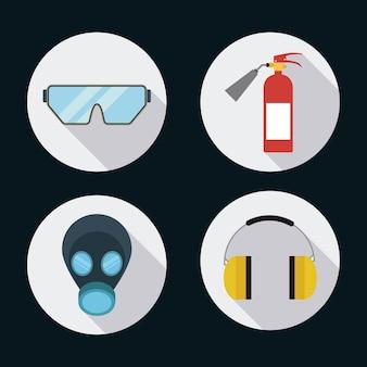 Extintor, máscara, óculos, auscultadores, ícone