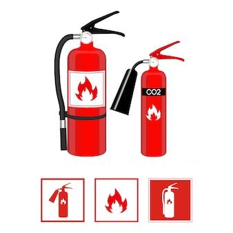 Extintores de incêndio e sinais
