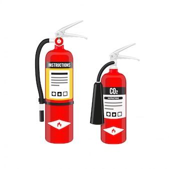 Extintores de incêndio.