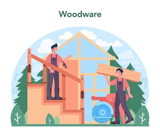 Extração de madeira do conceito de indústria madeireira e produção de madeira