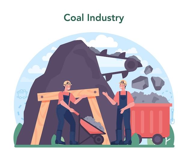 Extração de recursos minerais e naturais do conceito da indústria do carvão