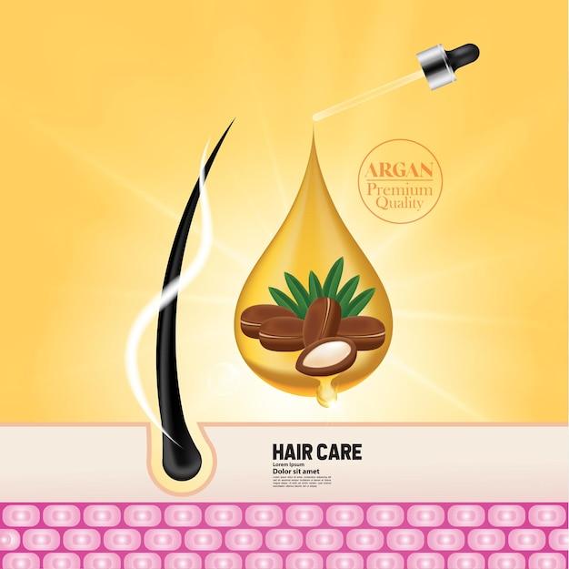 Extrato de argão para ilustração de produtos para o cabelo