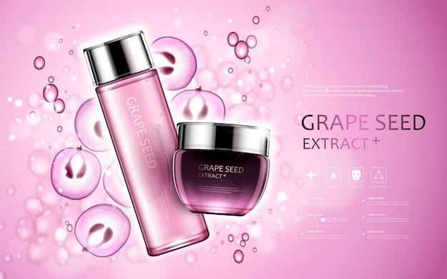 Extrato de semente de uva, anúncios de cosméticos com sementes de uva e elementos de bolhas na ilustração 3d