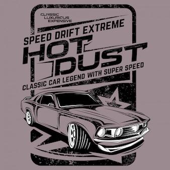Extremidade de deriva de velocidade de poeira quente, ilustração de carro clássico