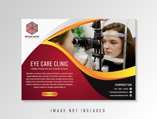 Eye care clínica cartaz ilustração vetorial assistência médica médica panfleto banner folheto folheto modelo tamanho a4 design moderno abstrato multiuso estilo relatório anual capa de livro uso layout horizontal