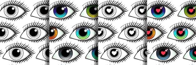 Eyes seamless patterns definido para papéis de parede de estampas têxteis