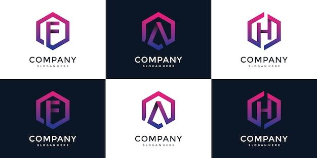 F, a, h moderno com modelo de design de logotipo hexágono