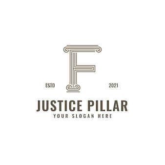 F letter logo justice and law firm pillar bold professional line art