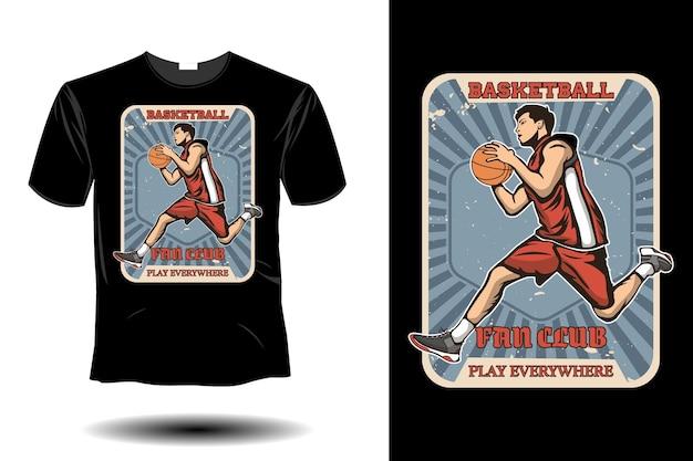 Fã-clube de basquete joga em todos os lugares, maquete de design retro vintage
