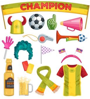 Fã de futebol conjunto sportsfan futebol mão espuma soccerball cerveja conjunto de ilustração de futebol sportswear chapéu cachecol no jogo de futebol isolado no fundo branco