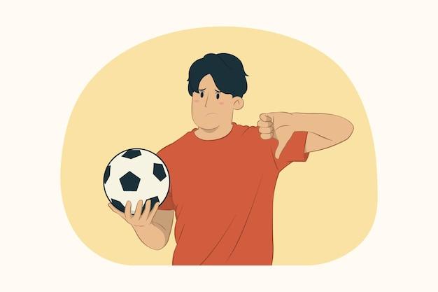Fã de futebol jovem mostrando o polegar para baixo