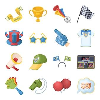 Fã e atributos cartum elementos na coleção definida para o projeto.