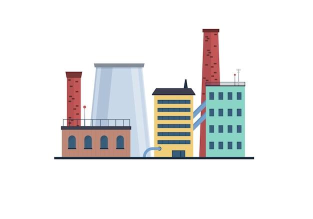Fábrica da indústria manufatura energia eletricidade edifícios ícones planos definir usinas nucleares