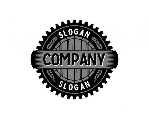 Fábrica de barril de engrenagem com trigo vintage cíclame logo vector