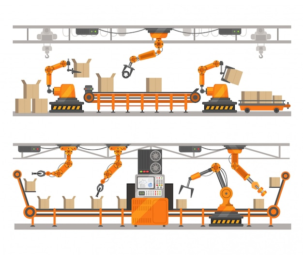 Fábrica de braço robótico, tecnologia de robô de montagem de produção na correia transportadora. conceito de robótica.