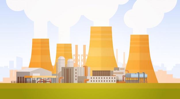 Fábrica de construção de natureza poluição planta tubulação de resíduos bandeira