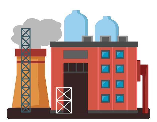 Fábrica de cores ou fábrica com tubos de edifícios e caixas de ferramentas de metal em um branco isolado
