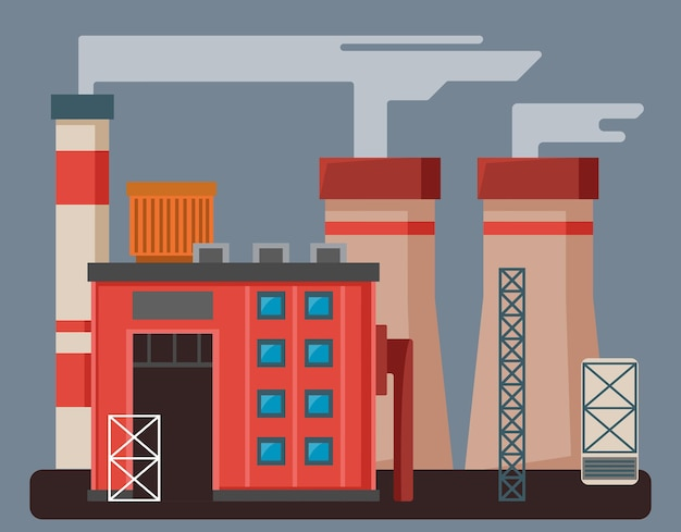 Fábrica de cores ou fábrica com tubos de edifícios e estruturas metálicas em um cinza isolado