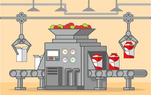 Fábrica de correia transportadora de uma bebida de frutas de caixa. produção e engarrafamento de suco de maçã.