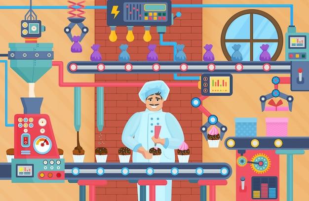 Fábrica de doces cupcake com confeiteiro