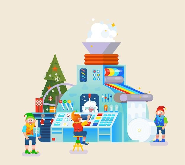 Fábrica de duendes de natal com presente na esteira. conceito de elfo, celebração e feriado, tema festivo.