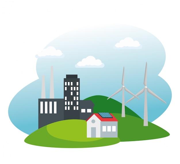 Fábrica de ecologia e casa com energia eólica e solar