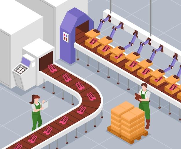 Fábrica de fabricação de calçados com maquinários automatizados de linha de montagem e ilustração isométrica dos trabalhadores