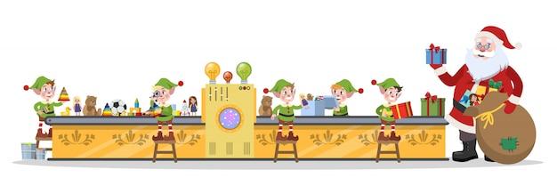 Fábrica de natal do papai noel. elf team fazendo brinquedos para presentear ou presentear na linha de máquinas. papai noel em pé com o saco. ilustração