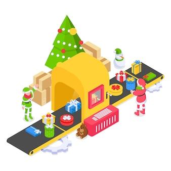 Fábrica de natal santass com esteira e dois ajudantes elfos pegando presentes